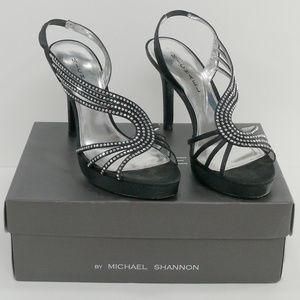 "MICHAEL KORS 'Shannon' black 4 1/2"" heels pumps 9M"